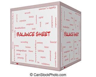 Balance Sheet Word Cloud Concept on a 3D cube Whiteboard
