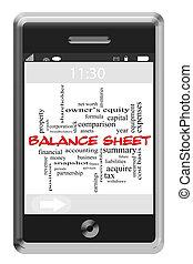 Balance Sheet Word Cloud Concept on Touchscreen Phone -...