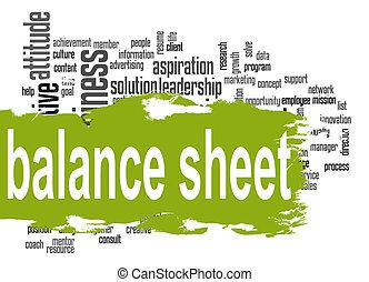 Balance sheet word cloud with green banner