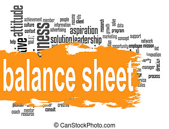 Balance sheet word cloud with orange banner