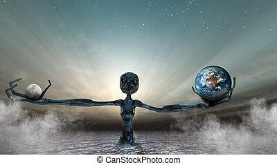 balance - The sun, the moon and the earth in balance