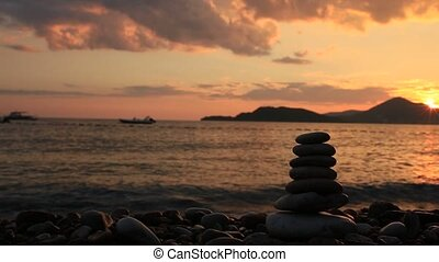 Balance stones on the beach. Peace of mind. Equilibrium life.