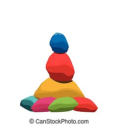Balance stones vector illustration, colorful stone