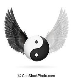 Balance - Traditional Chinese Yin-Yang symbol with black and...