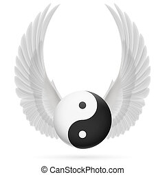 Traditional Chinese Yin-Yang symbol with raised up white wings