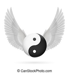 Traditional Chinese Yin-Yang symbol with white wings