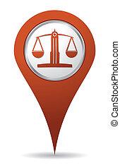 balance, ubicación, abogado, icono