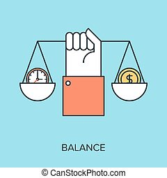 Vector illustration of balance flat line design concept.