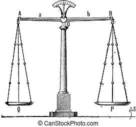 balance, vendimia, grabado