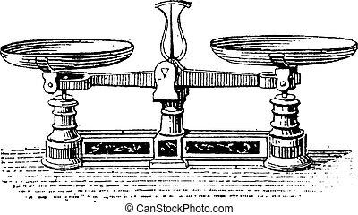 balance, vendimia, roberval, fig.3., engraving.
