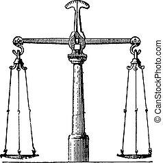 Balance, vintage engraving.