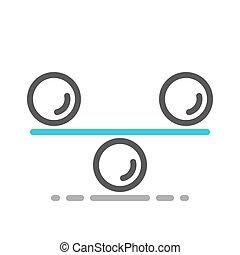 Balance weighing equal spheres