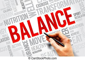 BALANCE word cloud, fitness, sport, health concept