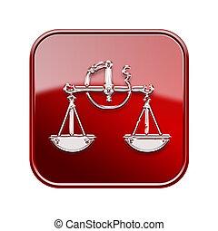 balance, zodiaque, icône, rouges, isolé, blanc, fond