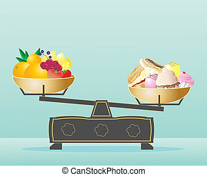 balanced diet - an illustration of scales with fruit in one...