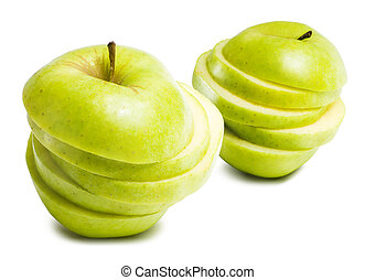 Balanced diet. - Balanced diet, sliced green apple isolated...