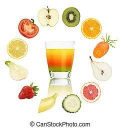 Balanced diet concept. cocktail glass with fruits and vegetables isolated on white background