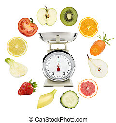 Balanced diet conceptt. weight scales with fruits and vegetables isolated on white background