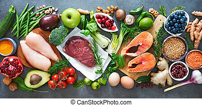 Balanced diet food background. Organic food for healthy ...