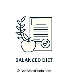 Balanced diet vector line icon, linear concept, outline sign, symbol