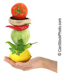 Balanced diet with vegetables