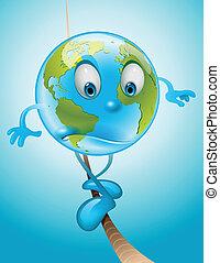 Balanced Earth - Whimsical illustration of Earth walking on...