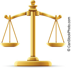 Balanced scale of justice isolated on white with space for copy.