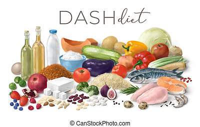 Balanced nutrition concept for DASH clean eating. Assortment of healthy food ingredients for cooking. Hand drawn illustration.