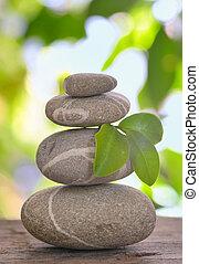 Balanced pebbles isolated
