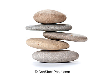 balanced pebbles - stone tower isolated on wihte