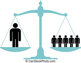 Balanced scale with a single man - Illustration of a ...