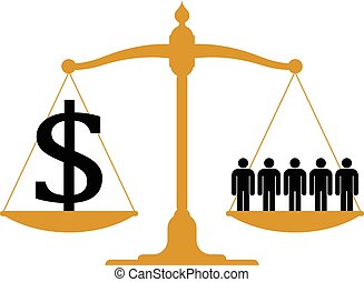 Balanced scale with people - Conceptual financial and...