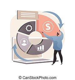 Balanced scorecard abstract concept vector illustration. Performance measurement, enterprise strategic goals, planning and management system, set target and monitor progress abstract metaphor.