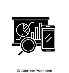 Balanced scorecard black icon, vector sign on isolated background. Balanced scorecard concept symbol, illustration