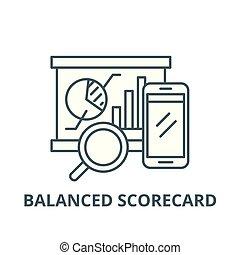 Balanced scorecard line icon, vector. Balanced scorecard outline sign, concept symbol, flat illustration