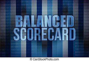 balanced scorecard on digital screen, business concept illustration design