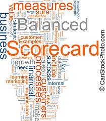Word cloud concept illustration of balanced scorecard