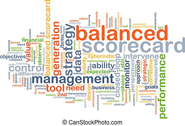 balanced scorecard wordcloud concept illustration