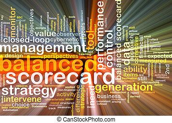 balanced scorecard wordcloud concept illustration glowing
