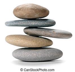 balanced stone tower - An isolated balanced stone tower on...