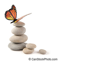Balanced stones with butterfly - Balanced stone tower with ...
