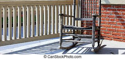 balancer, bois, vieux, chaise, porche