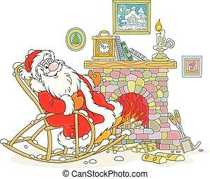 balancer, claus, chaise, santa, brûler
