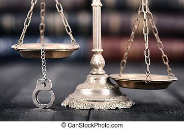 balances, arrière-plan., justice, menottes, bois, noir