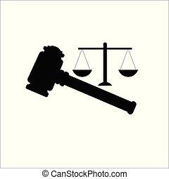 balances, enchère, vecteur, juge, icon., marteau, marteau
