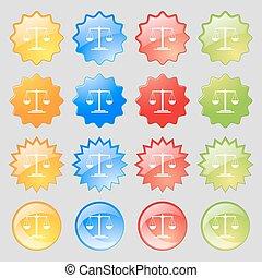 balances, ensemble, coloré, 16, grand, signe., moderne, boutons, vecteur, icône, ton, design.