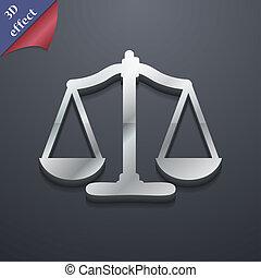 balances, espace, justice, texte, moderne, symbole., rastrized, branché, conception, 3d, style., ton, icône