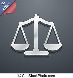 balances, espace, justice, texte, moderne, symbole., style., branché, vecteur, conception, 3d, ton, icône