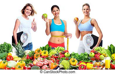 balances, femme, fruits
