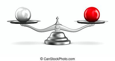 balances, image, isolé, arrière-plan., blanc, 3d